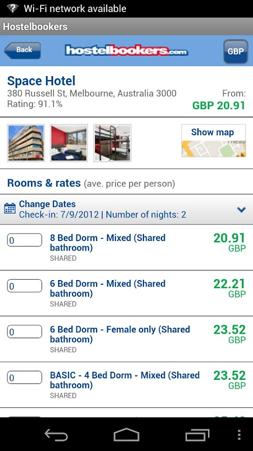 HostelBookers - Hostels - screenshot