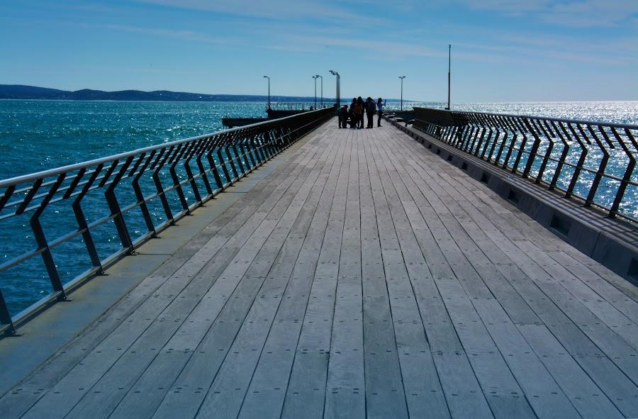Meet You At The Pier by Alan Chew - Buildings & Architecture Bridges & Suspended Structures ( lamps, wooden, rails, sea, pier,  )