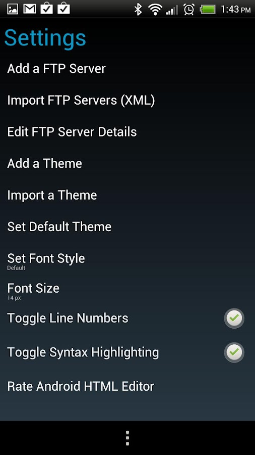 Android HTML/FTP Editor - screenshot