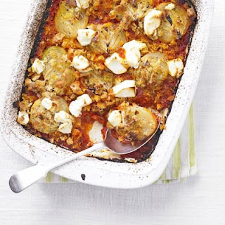 Tomato & Onion Bake With Goat's Cheese.