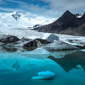 Glaciers And Mountain Peaks by Lillian Molstad Andresen - Landscapes Mountains & Hills ( clouds, water, reflections, lake, landscape, glacier, mountains, iceland, sky, nature, ice, snow, peaks,  )
