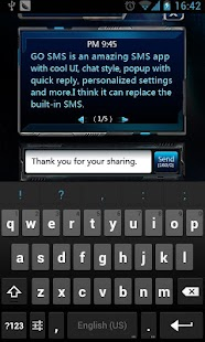 GO SMS Pro Space Popup Theme - screenshot thumbnail