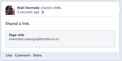 Facebook shared story without Open Graph protocol markup