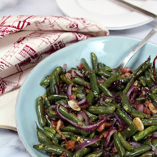 Roasted Green Beans with Pancetta, Red Onion and Garlic.