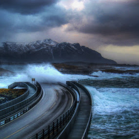 Storm on Atlantic Road. by Jan Helge - Buildings & Architecture Bridges & Suspended Structures ( waves, road, atlantic, storm, norway,  )