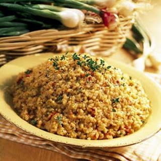 Oven-Baked Brown Rice with Roast Tomatoes.