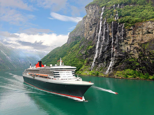 Cunard-Queen-Mary-2-fjords - Take in breathtaking views of the beautiful mountainsides and fjords of Norway on a sailing aboard Queen Mary 2.
