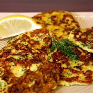 Zucchini, Feta, Haloumi And Dill Fritters