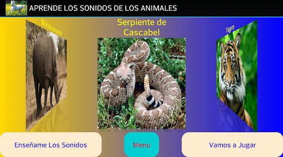 Animals Sounds, learn Spanish screenshot