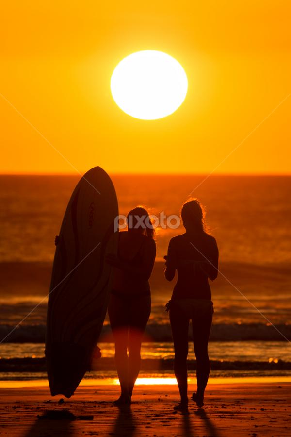 Sunset and surf by Rafa Rivas Aleman - People Street & Candids ( sunset, silhouettes, beach, surf, sun )