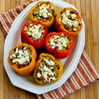 Recipe for Vegetarian Stuffed Peppers with Brown Rice, Mushrooms, and Feta.