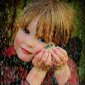 My Prince Charming ! by Jan Siemucha - Digital Art People ( child, edited photo, pose, face, hands, frog, added rain, costume )