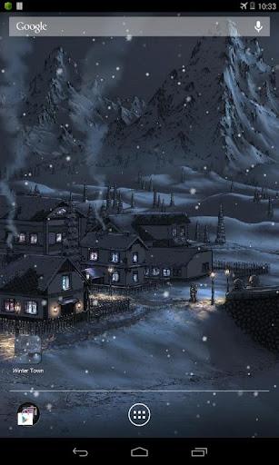 手繪冬季小鎮動態桌布