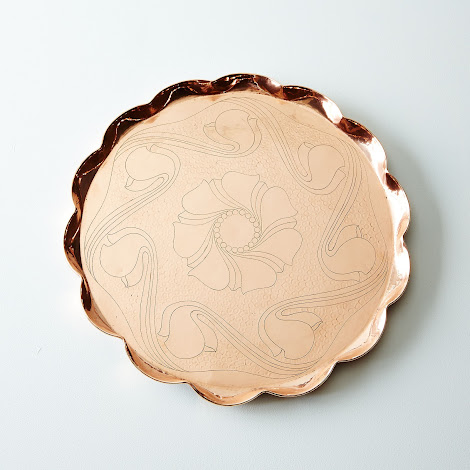Vintage Copper English Nouveau Bar Tray, Late 19th Century