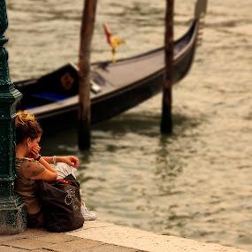 The Lonely Girl... by Avishek Patra - People Street & Candids ( heart break, gondola, girl, girl and gondola, venice, solitude, italy, lonely, alone,  )