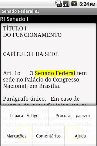 Regimento Senado Federal- screenshot