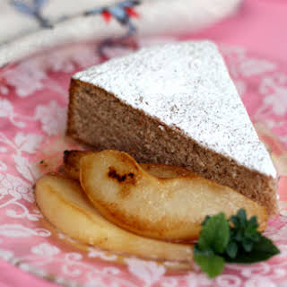 Chestnut Cake with Pan-Roasted Pears and Chestnut Honey Syrup.