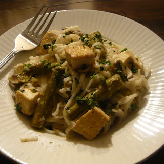 Coconut Key Lime Tofu with Asparagus and Mushroom Delight.