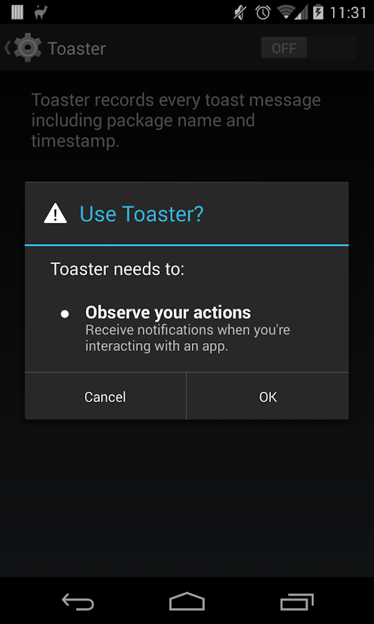 Toaster- screenshot