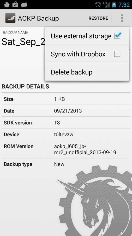 AOKP Backup - screenshot
