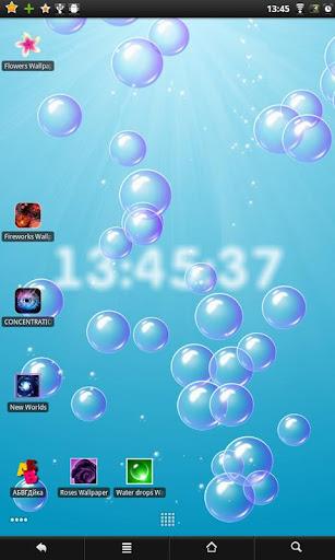 Bubbles clock live wallpaper