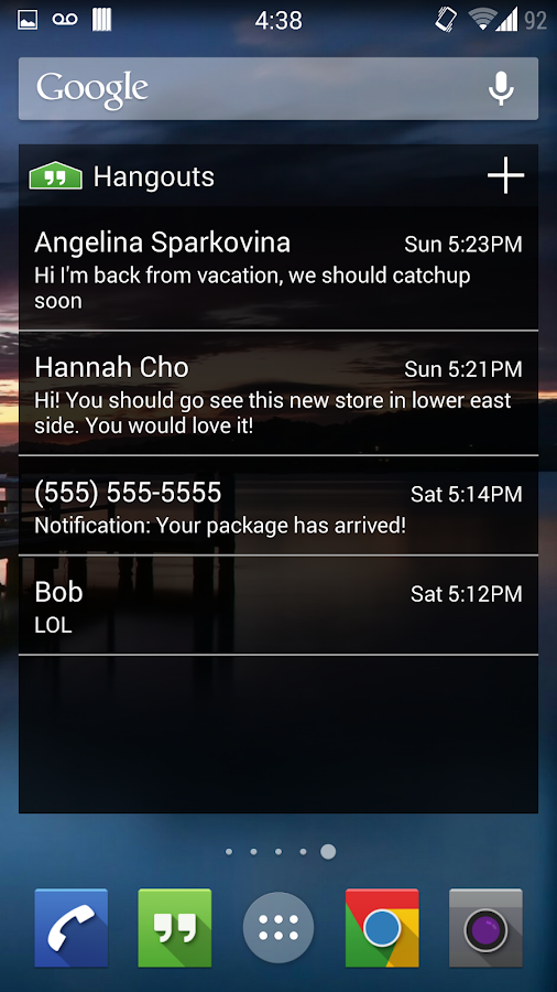 Hangouts Widget - screenshot