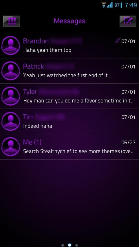 GO SMS Purple Platinum Theme - screenshot
