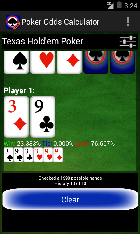 Poker odds heads up calculator