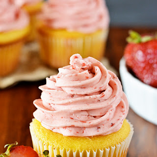 Lemon Cupcakes with Strawberry Frosting.