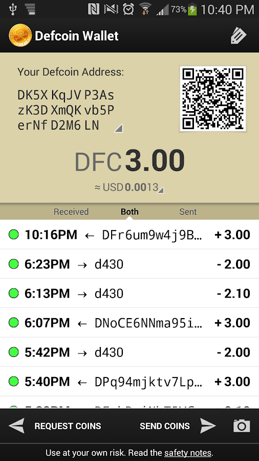 Defcoin Wallet- screenshot