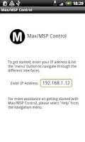 Screenshot of Max/MSP Control