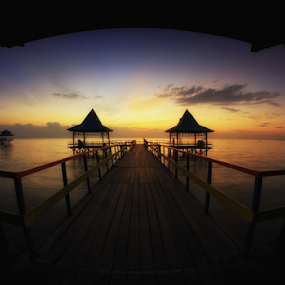 Sunrise in Kenjeran Beach by Hafidz Wahyu - Buildings & Architecture Bridges & Suspended Structures ( amazing, fisheye, indonesia, beautiful, sunrise, beach, landscape, sun, surabaya, , golden hour, sunset, Earth, Light, Landscapes, Views, relax, tranquil, relaxing, tranquility )