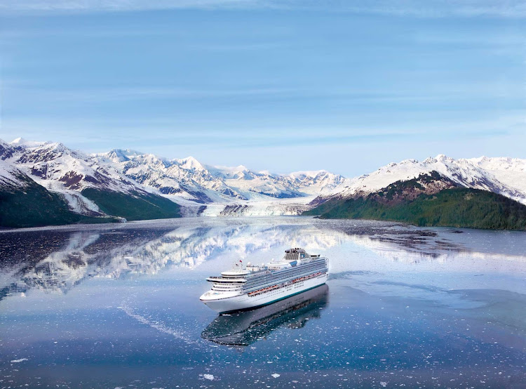 Picture yourself in the middle of a postcard: A shot of Diamond Princess cruising through College Fjord, Alaska.