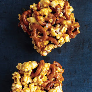 Chewy Caramel Popcorn and Pretzel Bars