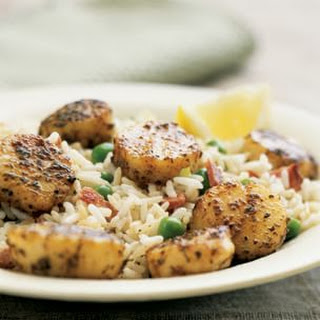 Spicy Scallops with Vegetable-Rice Pilaf.