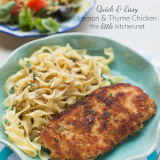 Lemon & Thyme Chicken with Buttered Egg Noodles.