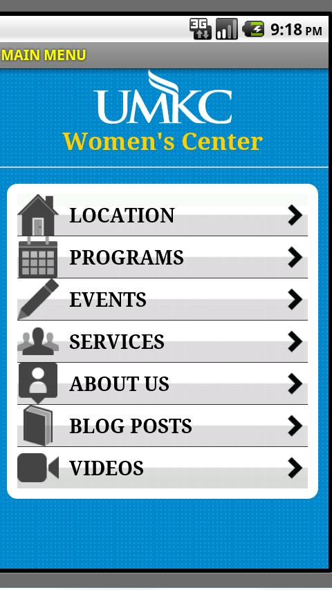 UMKC Women's Center- screenshot