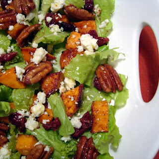 Roasted Sweet Potato Salad with Spicy Pecans and Cider Vinaigrette.