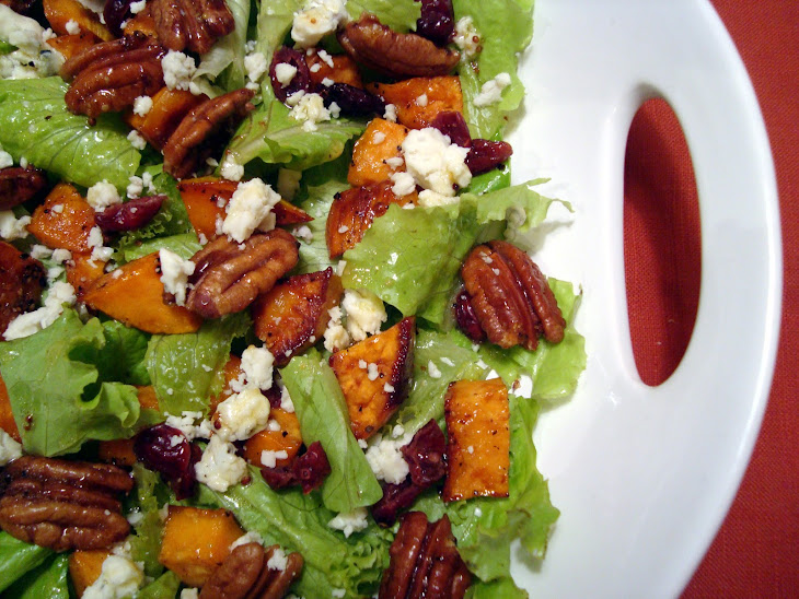 Roasted Sweet Potato Salad with Spicy Pecans and Cider Vinaigrette Recipe