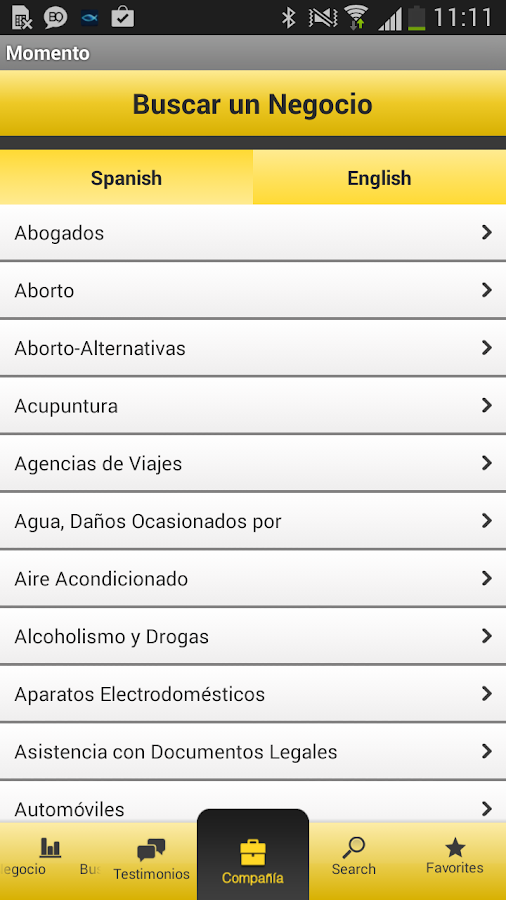 Spanish Yellow Pages - screenshot