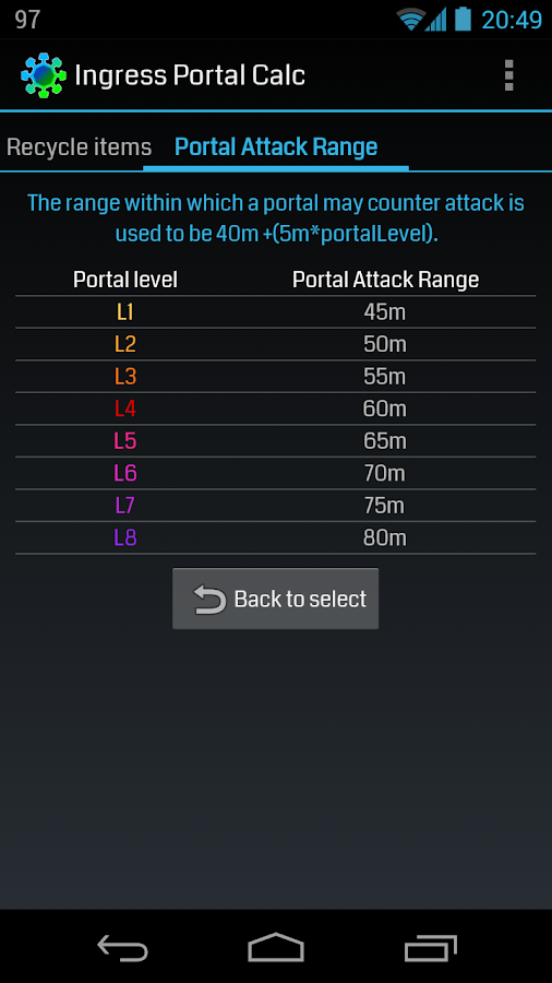 Ingress Portal Calc - screenshot