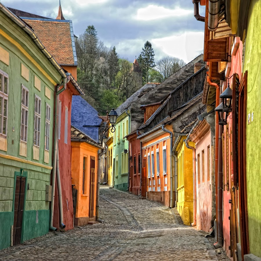 sighisoara street by George Nutulescu - City,  Street & Park  Historic Districts