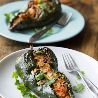 Spicy Salsa and Bean-Stuffed Poblano Peppers.