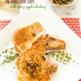 Pan Seared Pork Chops with Spicy Apple Chutney.