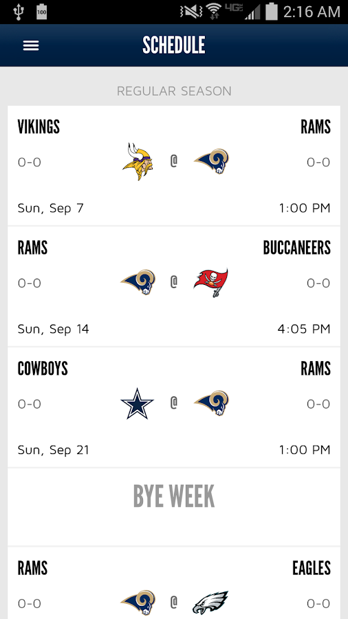 St. Louis Rams Official Mobile- screenshot
