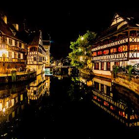 Estrasburgo by Jesús Sánchez Ibáñez - City,  Street & Park  Night ( city, night )