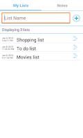 Screenshot of My Quick List