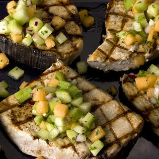 Grilled Swordfish with Cucumber-Melon Salsa.