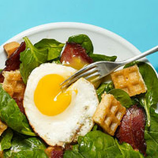 Bacon, Egg & Spinach Salad with Waffle Croutons.
