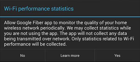View Wi-Fi performance statistics in the Fiber TV app (Android only).